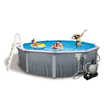 Blue Wave Martinique 15' Round 52 Deep 7 Top Rail Metal Wall Swimming Pool Package