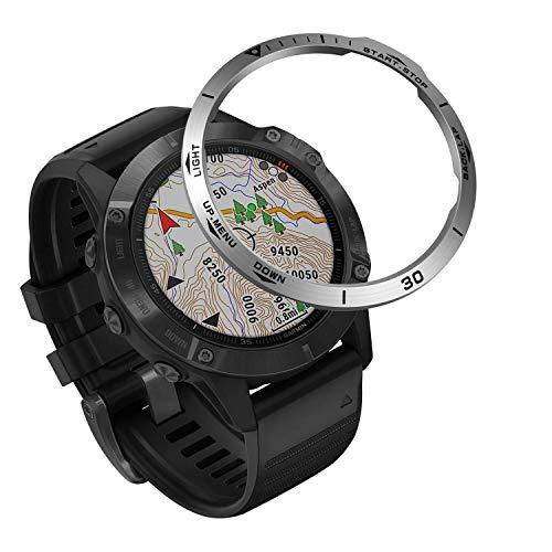 VENTER Acero Inoxidable Anillo Bisel Compatible con Garmin Fenix 6X/6X Pro Watch, Bezel Ring Adhesive Cover Protector Anti arañazos y colisiones para Garmin Watch Accessory(Silver-2)
