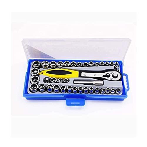 Juego de herramientas de reparación de relojes, 38 en 1, juego de llaves dinamométricas, juego de llaves de tubo de destornillador de trinquete métrico de 3/8 pulgadas, juego de herramientas Trox
