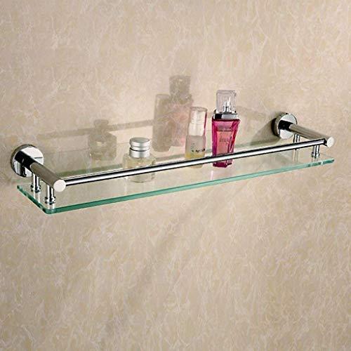 SLINGDA badkamer plank glas plank met handdoek rechthoekige bad douchecabine Organizer muur mand 60 cm (maten, geen handdoek Rail), Handdoek Bar