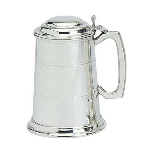 Edwin Blyde & Co Pint-Bierkrug mit massivem Metallboden–568 ml, Zweilagiger Körper mit traditionellem Standard-Griff und -Deckel, Zinn