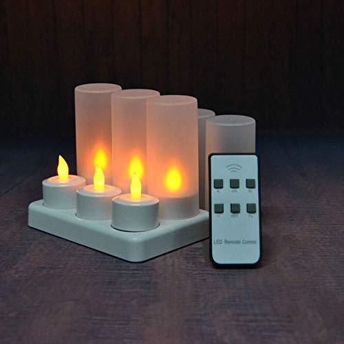 HDHUIXS Practicidad 4/6 Velas / 12pzas de LED controlados a Distancia Que oscila Helado Recargable luz del té Vela Electrónica waxless de Navidad Boda-Ámbar Firme (Emitting Color : Set of 6 Amber)