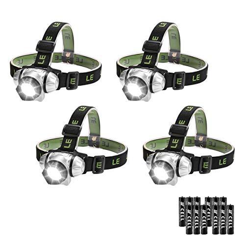 LE Lot de 4 Lampe Frontal LED Puissante Ultra Légere 3piles AAA Incluses, Lampe Frontale Rouge IPX4 Etanche, Réglable Pour Enfants et Adultes Course à pied, Randonnée Nocturne (lot de 4)