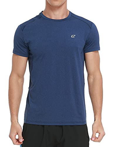 Men's Dry Fit Moisture Wicking Athletic T-Shirt Short Sleeve Workout Running Shirts for Men(A03Navy,L)