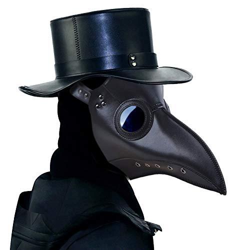 ThinkTop Plague Doctor Mask Long Nose Bird Beak Mask Rivet Steampunk Halloween Cosplay Costume for Party Black …