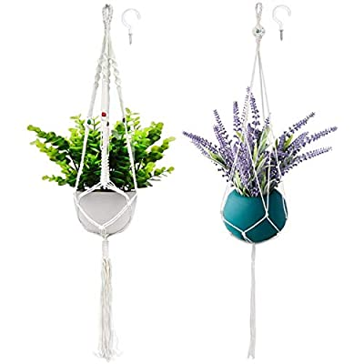 Wizdar Macrame Plant Hanger Boho Hanging Planters Basket Decorative Flower Pot Hangers for Indoor Outdoor Home Decor… - 🌼【UNIQUE AND EXQUISITE GIFT】: Are you still looking for some unique things? This is one of those things that you can give to anyone at any time. The unique Bosnian design is not only suitable for decorating your garden, office, living room or other places, but also an ideal gift for birthdays, holidays, anniversaries, and Christmas. 🌼【HAND-WOVEN WIRE】: Each product is handmade by our experienced artisans, and made of 100% pure cotton thread. The wizard plant hanger uses a unique strong soft woven design, which can hold almost all kinds of potted plants. 🌼【EASY TO INSTALL】: This plant hanger will fit a variety of plant pots like ceramic pots, metal pots, plastic pots, glass pots. Make the 4 leg strings loose, put the plant pot in the middle smoothly, and hang on with hook. - living-room-decor, living-room, baskets-storage - 41pH40nMjJL. SS400  -