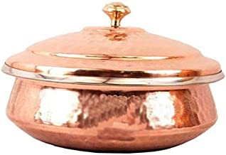 Bona fide pure Copper Tableware Serving Bowl Indian Serveware Handi Set, Tureen Copper Stainless Steel Serving Dishes For Serving your favourite Dish with a Traditional Touch 600 ml 15 cm