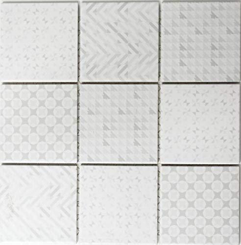 Baldosa de mosaico retro vintage de cerámica, color blanco MOS22B-1401_f (10 unidades)