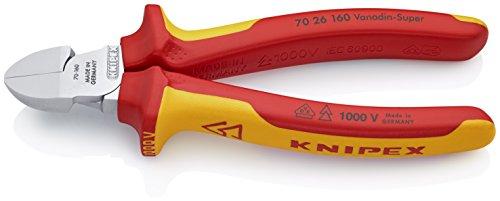 KNIPEX 70 26 160 Seitenschneider verchromt isoliert mit Mehrkomponenten-Hüllen, VDE-geprüft 160 mm