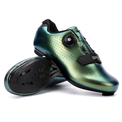 xxinaishan サイクルシューズ SPD/SPD-SL両対応 自転車靴 自転車シューズ 耐摩耗性 通気性 快速靴紐 初心者 XNS-569 (カラー ゴールド, measurement_25_point_0_centimeters)
