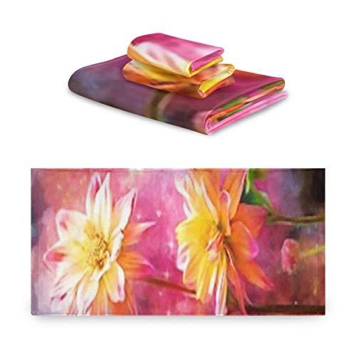 Juego de toallas de 3 piezas, colección de pinturas al óleo de diseñador, decoración, juegos de baño de toalla interior, 1 toalla de baño, 1 paño, 1 toalla de mano, multifunción suave para el hogar,