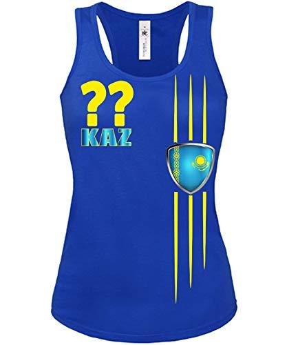 Kasachstan Kazakhstan Wunsch Zahl Fussball Fußball Trikot Look Jersey Fanshirt Damen Frauen Mädchen Tank Top T-Shirt Tanktop Fan Fanartikel Outfit Bekleidung Oberteil Artikel