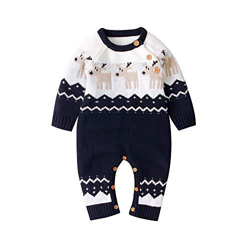 Odot Navidad Patrón de Alces Ropa Bebé Crochet Punto Recién Infantil Monos, Niños Niñas Cálido Otoño Invierno Caliente Mameluco Pijamas 0-18 Mes (100,Azul)