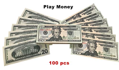 DenYorkStore $2,000 Prop Money 20s with Full Print Stack, Copy of 20 Novelty Dollar Bill for Pranking and Play Games