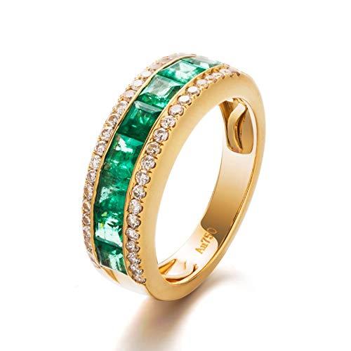 AnazoZ Anillos Mujer Oro 18K,Anillo Oro Verde Mujer Compromiso Redondo Esmeralda Verde 1.33ct Diamante Blanco 0.35ct Talla 6,75-25