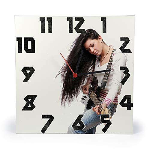 Gifty Lab Orologio Personalizzato con la Tua Foto - Orologio da Parete in Legno - Quadrato 30cmx30cm, Numeri Rock