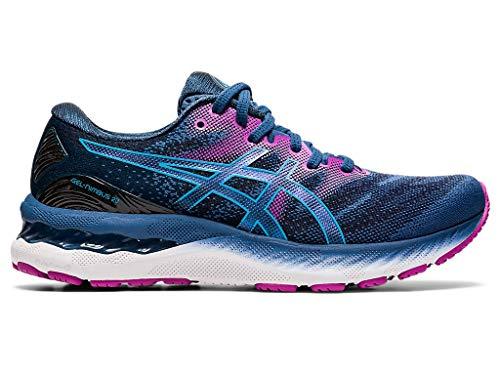ASICS Women's Gel-Nimbus 23 (D) Running Shoes, 5.5W, Grand Shark/Digital Aqua