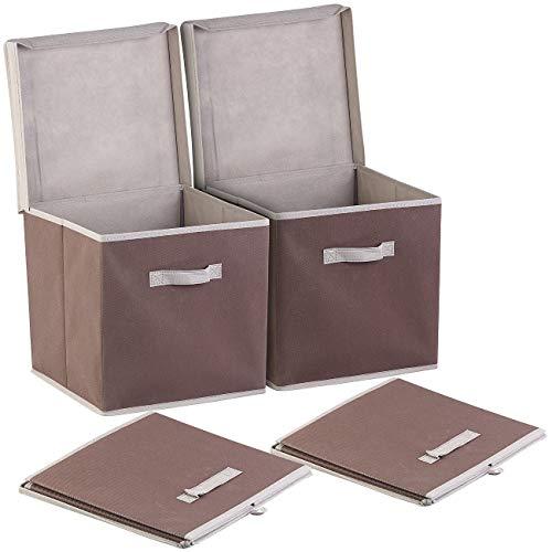 PEARL Faltbox mit Deckel: 2er-Set Aufbewahrungsboxen mit Deckel, faltbar, 31x31x31 cm, braun (Faltbare Ordnungsboxen)
