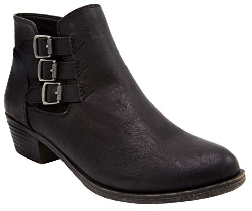 Rampage Booties for Women - Dress Womens Ankle Boots with Block Heel, Ladies Side Zip Booties & Ankle Boots with Triple Buckle Over Open Ankle |Tulsa Black 9
