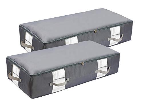 2 unidades de almacenamiento impermeable y portátil plegable – Caja de almacenamiento – Funda de almacenamiento debajo de la cama – Cajones debajo de la cama – gris – 83 L