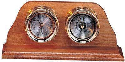 """HS 6"""" Polished Brass Quartz Clock & Barometer Weather Station"""