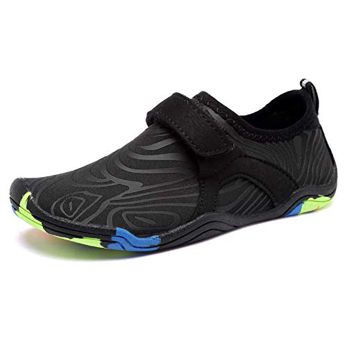 FANTURE Girls & Boys Water Shoes Lightweight Comfort Sole Easy Walking Athletic Slip on Aqua Sock(Toddler/Little Kid/Big Kid) U4JSX002-Black-32