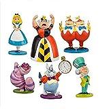 Alice in Wonderland – Set of 6 Alice in Wonderland Party– Alice and Cheshire Cat,Queen of Hearts – Alice in Wonderland Playset for Playing or Decoration – 3-inch Alice in Wonderland Figures
