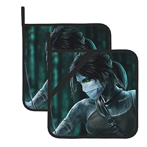 Lara Croft Tomb Raider - Guantes de horno resistentes al calor, doble soporte para horno con diseño antideslizante de silicona para hornear en el hogar y la cocina - Juego de 2 fundas aisladas