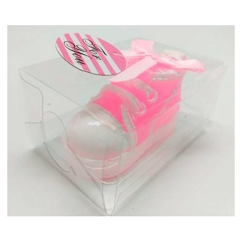 DisokCandela a forma di scarpetta, colore: rosa, candela per battesimo di bambina