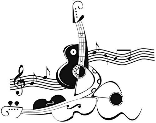 Etiqueta de la pared vinilo removible etiqueta de la pared creativa abstracta guitarra y violín nota decoración de la sala de estar 59x69 cm