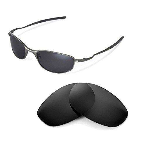 Walleva Ersatzgläser für Oakley Tightrope Sonnenbrille - Mehrfache Optionen (Schwarz - polarisiert)