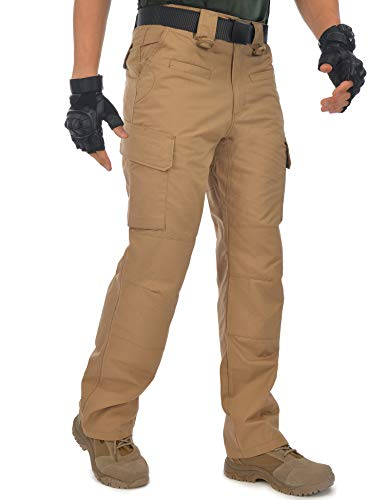 HARD LAND Men's Waterproof Tactical Pants Ripstop Cargo Work Pants with Elastic Waist for Hunting Fishing Hiking Size 44×30 Coyote Brown