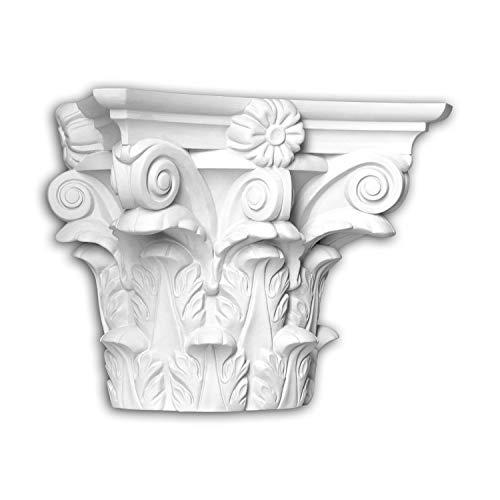 Capitel de media columna Profhome 445301 Moldura de fachada Columna Elemento de fachada estilo corintio blanco