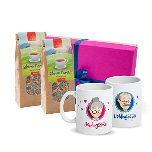 Oma Opa Geschenk - Geschenkset Oma Opa mit Oma Tasse + Opa Tasse, Tee + GRATIS Karte - Oma Opa Weihnachtsgeschenke – Oma Geschenk – Opa Geschenk – Geschenk für Großeltern von MyOma