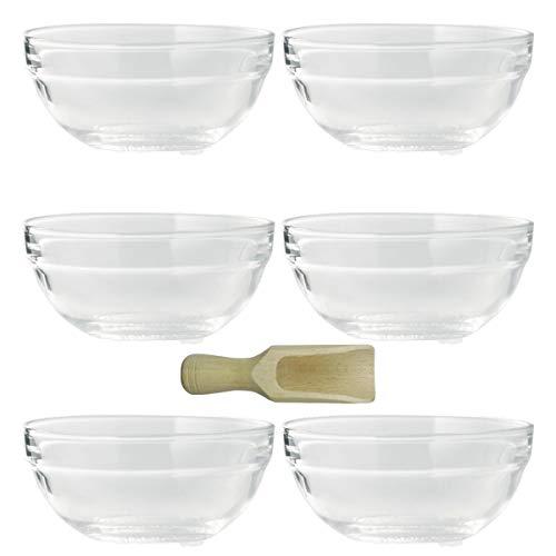 Viva Haushaltswaren - 6 x kleine Schüssel aus Glas (Ø 9 cm), als Glasschälchen sowie als Dipschale, Dessertschale, Tapasschale geeignet (inkl. kleiner Holzschaufel 7,5 cm)