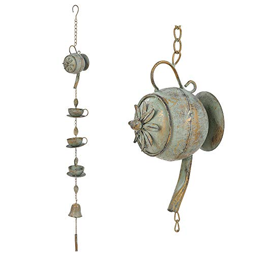 Brogan Metal Chinese Style Teapot with Teacups, Saucers Decorative Rain Chain, with Bell Chime, Hanging Display for Outdoor Patio Garden Yard Accents or Home Decoration (Verdigris)