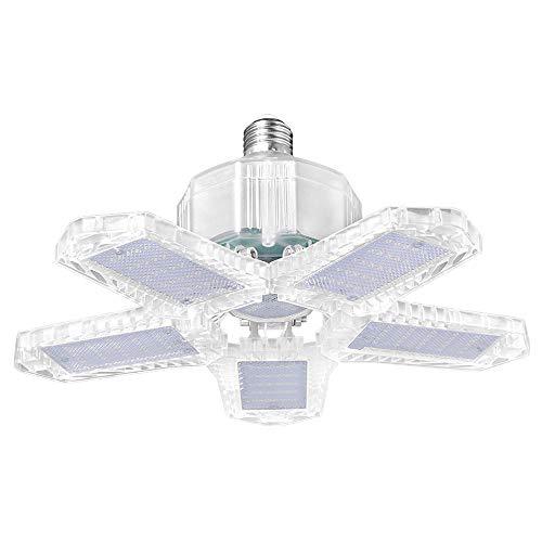 Lampara Garaje LED,KKmoon 100W Focos LED Interior Techo 10000LM 6000K Lampara Deformable con 5 Paneles Ajustables 0-90° Sótano Lámpara Techo Luz Almacén