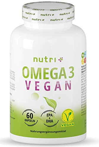 Omega-3 Vegan - DHA + EPA Essential O3 Fatty acids from Algae Oil - Highly dosed Vegan Oil - Vegetable & Vegetarian - Without Fish Oil, Beef & Gelatine