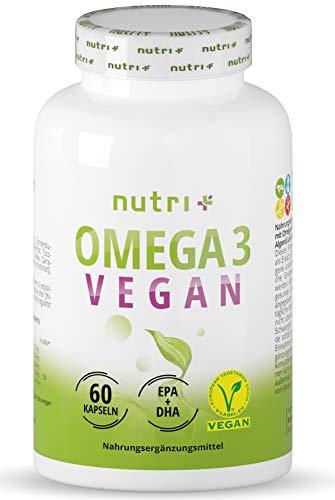 OMEGA-3 Vegan - DHA + EPA Essentielle O3-Fettsäuren aus Algenöl - vegane Kapseln - hochdosiertes veganes Öl - pflanzlich & vegetarisch - ohne Fischöl, Rind & Gelantine