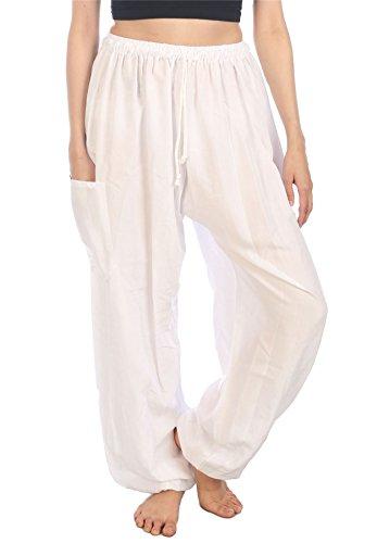 LOFBAZ Harem Pants for Women Yoga Boho Sweatpants Womens Hippie Bohemian Clothing Palazzo Beach Clothes Casual Pajama Solid White Large