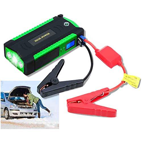 Batería portátil para coche de 12000 mAh, 12 V, con puertos USB 3.0, linterna LED, color verde