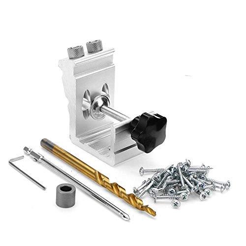 Herramientas de decoración del hogar Kit de carpintería 3 en 1 Aleación de aluminio Plantilla de agujero de bolsillo Guía de perforación de agujero de madera Posicionador de carpintería Carpintería