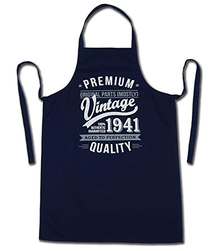 1941 Vintage Year - Aged To Perfection - 80th Birthday Gift / Present Mens Apron Navy