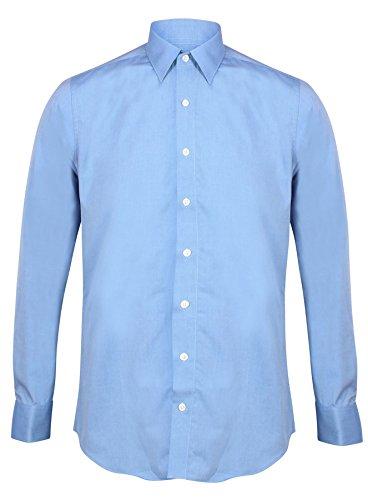 INVICTUS Camicia da uomo formale Slim su misura atletica Body Fit Easy Care puro cotone doppio polsino Fiordaliso blu 44