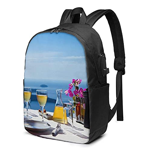 XCNGG Laptop Backpack,17 Inch Travel Lightweight Backpack with USB Charging Port Scenery of A Table Above Sea