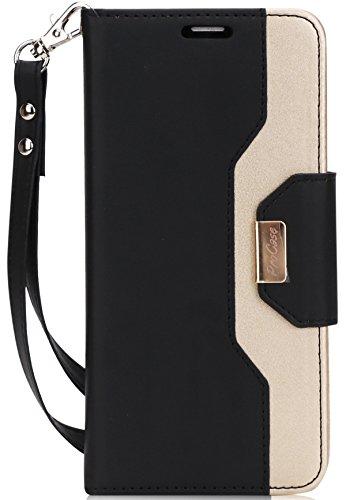 Huawei Honor 7X Geldtasche Hülle, ProHülle Flip Kickstand Hülle mit Card Slots Spiegel Wristlet, Klappständer Schutzhülle für 5.93 Inch Huawei Honor 7X (2017 Freigabe) -Schwarz