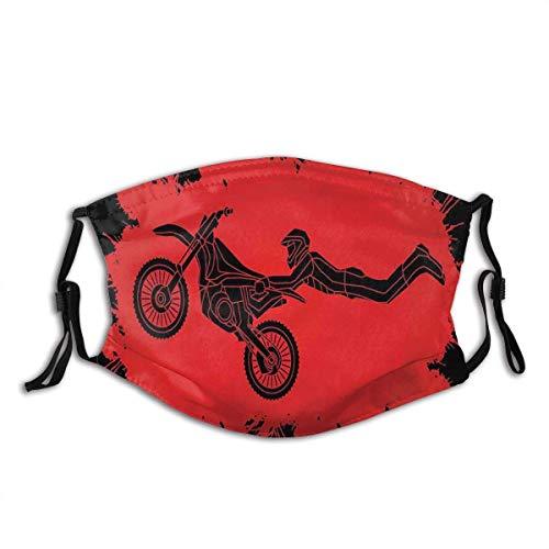 Mundschutz Freestyle Motocross Illustration mit Farbspritzern Hintergrund Waschbarer wiederverwendbarer Mundgesichtsschal
