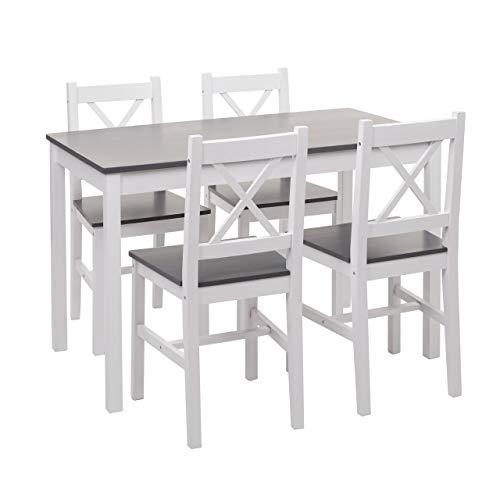 Mendler Esszimmer-Set HWC-F77, Sitzgruppe Esszimmergruppe, Massiv-Holz Landhaus 110cm ~ weiß-grau