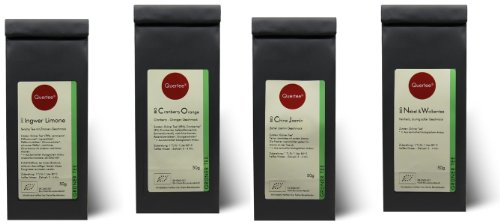 "Grüntee Probierset Biotee Quertee® Nr. 4 - 4 x 50g Bio Tee - \""Grüntee Fan\"" das Grüner Tee Geschenk Set"