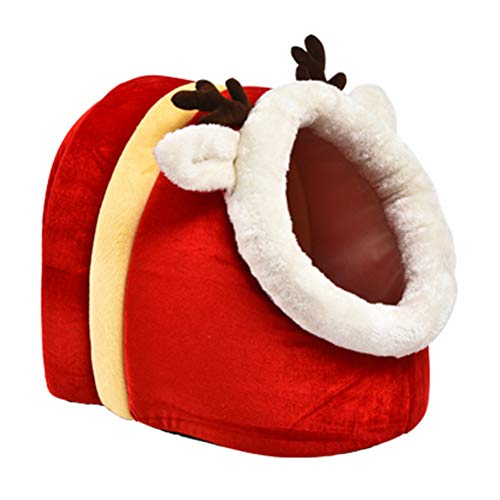 Leikar Nido para mascotas de Navidad, serie de Navidad, pantuflas de Yurta, dibujos animados, nido de mascotas, suave, cómodo, cálido para invierno, cama para mascotas